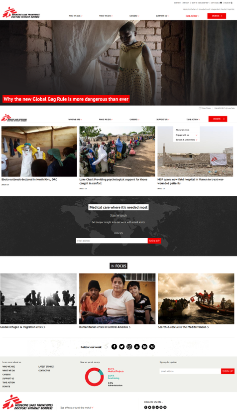 Main page of Doctors without borders organisation