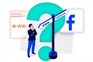 "A man standing in front of sidepost, trying to decide which way he should follow. The two available ways are labelled ""Facebook"" and ""WWW""There is a big, teal question mark at the background of the image"